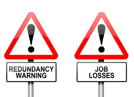 job hunting: Illustration depicting two triangular warning road signs with a redundancy concept  White background