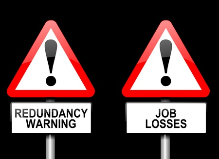 job hunting: Illustration depicting two triangular warning road signs with a redundancy concept  Black background