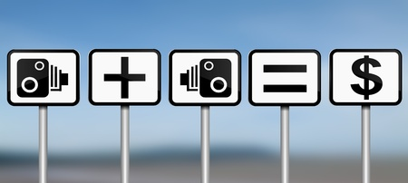 deterrent: Illustration depicting road signs with speed camera financial gain concept. Blue blur background. Stock Photo