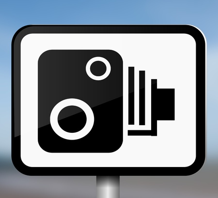 policing: Illustration depicting a single black and white speed camera warning sign blurred blue background.