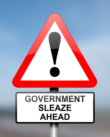 sleazy: Illustration depicting red and white triangular warning road sign with a government sleaze concept. Blurred blue  background.