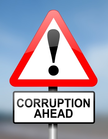 Illustration depicting red and white triangular warning road sign with a corruption concept. Blue blur background. illustration