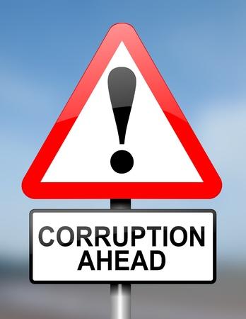 corrupcion: Ilustración que muestra el rojo y blanco señal triangular de advertencia en carretera con un concepto de corrupción. Azul de fondo borroso.