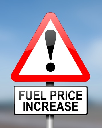 shortage: Illustration depicting red and white triangular warning road sign with a fuel price concept. . Stock Photo