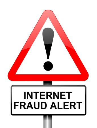scammer: Illustration depicting red and white triangular warning road sign with an internet fraud concept  White background  Stock Photo