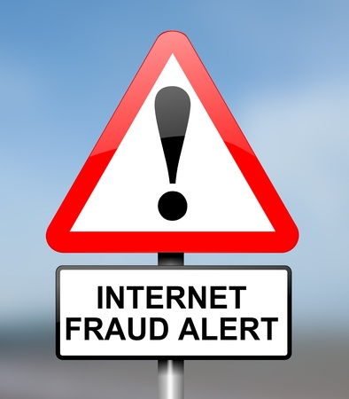 scam: Illustration depicting red and white triangular warning road sign with an internet fraud concept  Blue blur background
