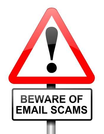email security: Illustration depicting red and white triangular warning road sign with an email scam concept  Stock Photo