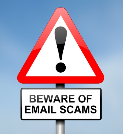 scammer: Illustration depicting red and white triangular warning road sign with an email scam concept  Blue blur background  Stock Photo