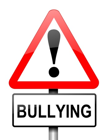 Illustration depicting red and white triangular warning road sign with a bullying concept  White background  illustration