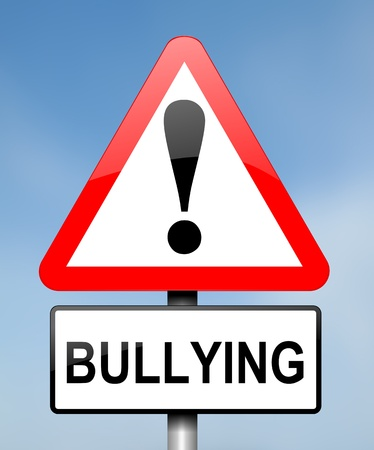 hazzard: Illustration depicting red and white triangular warning road sign with a bullying concept  Blue blurred background  Stock Photo
