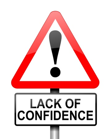 lack of confidence: Illustration depicting red and white triangular warning road sign with a confidence concept  White background  Stock Photo