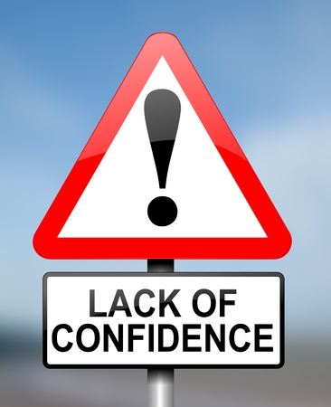 lack of confidence: Illustration depicting red and white triangular warning road sign with a confidence concept  Blue blurry background  Stock Photo