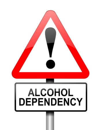dependency: Illustration depicting red and white triangular warning road sign with a alcohol dependency concept. White background.