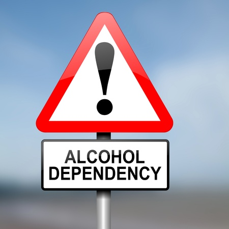 dependance: Illustration depicting red and white triangular warning road sign with a alcohol dependency concept. Blurred background.