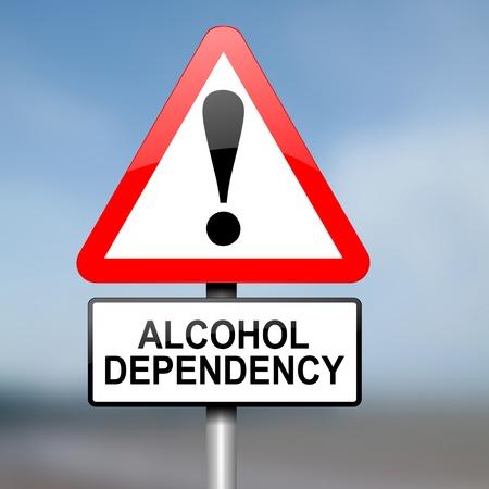 alcoholismo: Ilustración que muestra triangular de advertencia señal de tráfico roja y blanca con un concepto de dependencia del alcohol. Fondo borroso. Foto de archivo