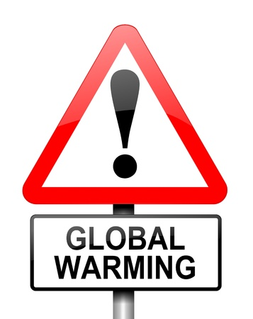 emission: Illustration depicting red and white triangular warning road sign with a global warming concept. White background.