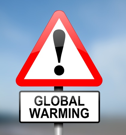 global warming: Illustration depicting red and white triangular warning road sign with a global warming concept.Blurred background.