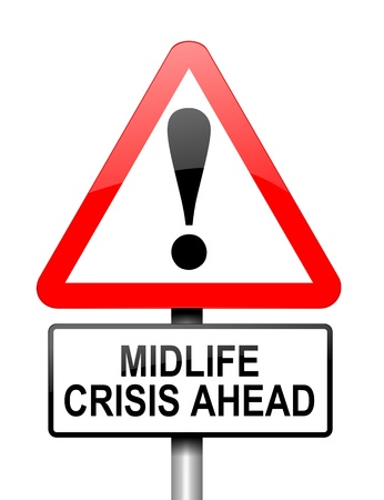 midlife: Illustration depicting red and white triangular warning road sign with a midlife crisis concept. White background. Stock Photo