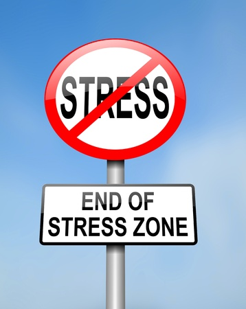 emotional stress: Illustration depicting red and white circular road sign with a stress concept  Blurred background
