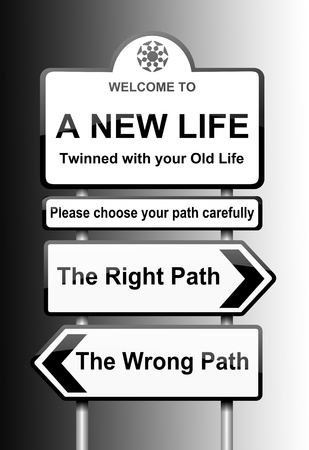 new life: Illustration depicting road signs with a life change concept  Black to white gradient background