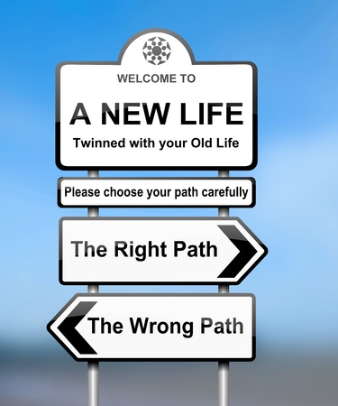 new start: Illustration depicting road signs with a life change concept  Blurred background  Stock Photo