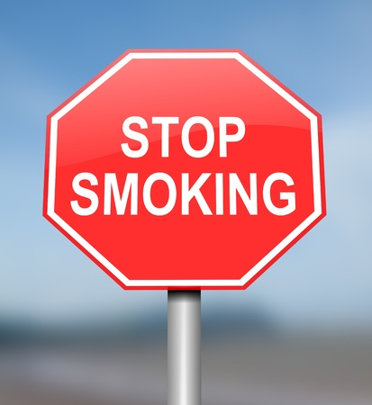 smoking stop: Illustration depicting red and white warning road sign with a nicotine dependancy concept. Blurred blue background.