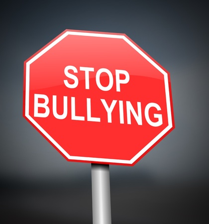 threat of violence: Illustration depicting red and white warning road sign with a bullying concept. Blurred dark background. Stock Photo