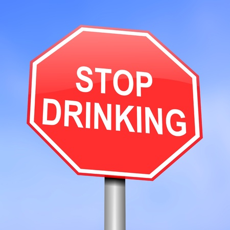 drunk driving: Illustration depicting red and white warning road sign with a alcohol consumption concept. Blue background. Stock Photo