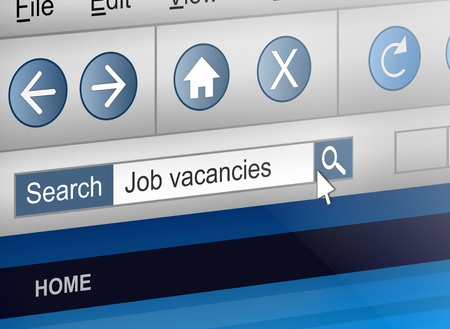 finding employment: Illustration depicting a computer screen shot with a job search concept.