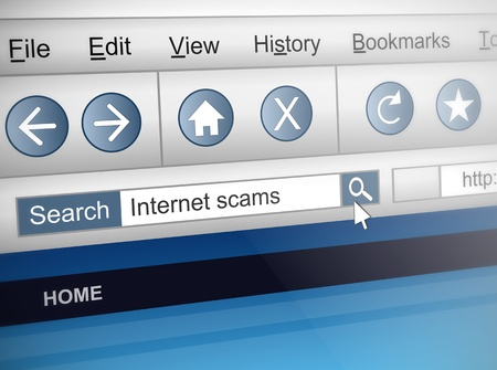 scam: Illustration depicting a computer screen shot with an internet scam search concept. Stock Photo