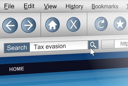 evasion: Illustration depicting a computer screen shot with a tax evasion search concept.