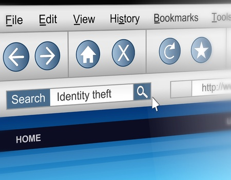 threat: Illustration depicting a computer screen shot with an identity theft information search concept.
