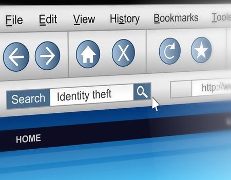 personal identity: Ilustraci�n que muestra una pantalla de ordenador dispar� con un concepto de robo de identidad la b�squeda de informaci�n.