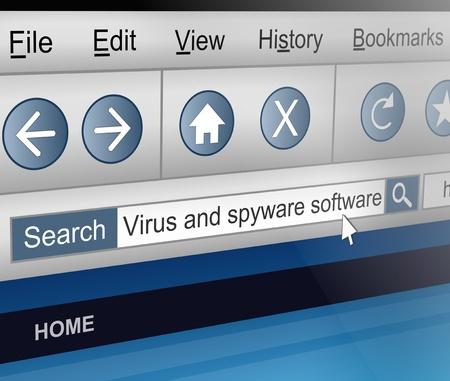 virus informatico: Ilustración que muestra una pantalla de ordenador disparó con un tema de búsqueda de software antivirus.