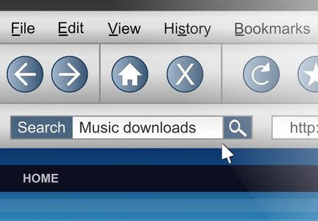downloading content: Illustration depicting a computer screen shot with a downloading music search concept.