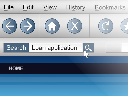 Illustration depicting a computer screen shot with a loan search concept. Stock Illustration - 13332439