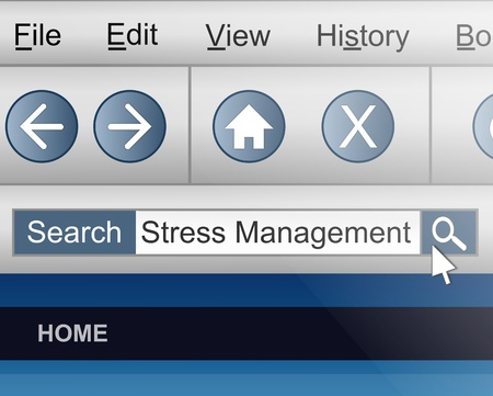 Illustration depicting a computer screen shot with a stress management search concept. illustration