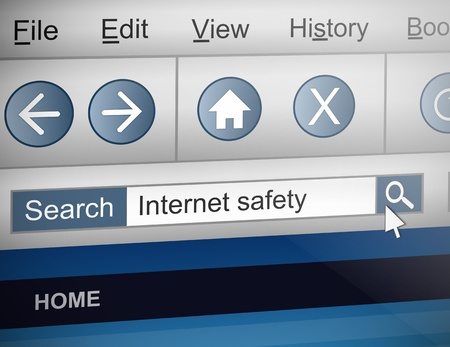 theft prevention: Illustration depicting a computer screen shot with a internet safety search concept.