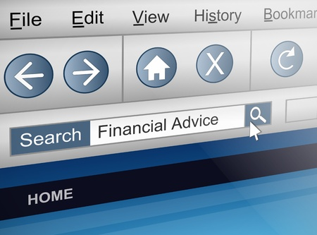 advisor: Illustration depicting a computer screen shot with a financial adviser search concept.
