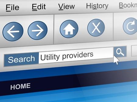 usługodawcy: Ilustracja przedstawiajÄ…ca ekranie komputera strzaÅ' z dostawcÄ… użytkowej koncepcji wyszukiwania.