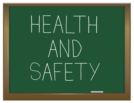 safety first: Illustration depicting a green chalkboard with the words
