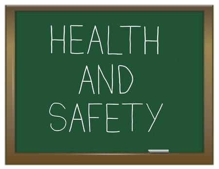 seguridad e higiene: Ilustraci�n que muestra una pizarra verde con las palabras