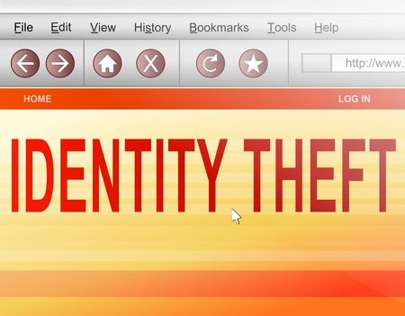 hacked: Illustration depicting a computer screen shot with an identity theft concept.