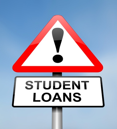 education loan: Illustration depicting a red and white triangular warning sign with a student loans concept. Blurred sky background.