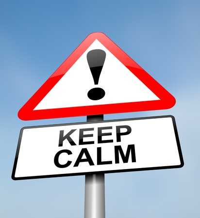 assured: Illustration depicting a red and white triangular warning sign with a keeping calm concept. Blurred sky background. Stock Photo
