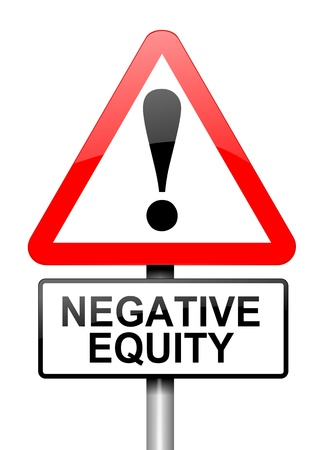 negative equity: Illustration depicting a red and white triangular warning sign with a negative equity concept. White background.