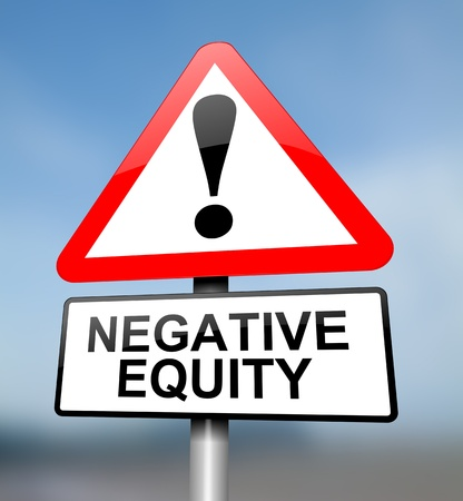 negative equity: Illustration depicting a red and white triangular warning sign with a negative equity concept. Blurred sky background.