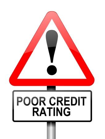 tomar prestado: Ilustraci�n que muestra una se�al triangular de advertencia de color rojo y blanco con un concepto de calificaci�n crediticia. Blanco fondo.
