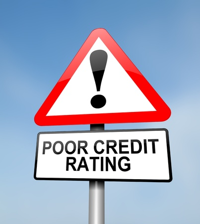 credit score: Illustration depicting a red and white triangular warning sign with a credit rating concept. Blurred sky background.