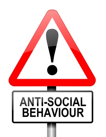 antisocial: Illustration depicting a red and white triangular warning sign with a anti social behaviour concept. White background. Stock Photo